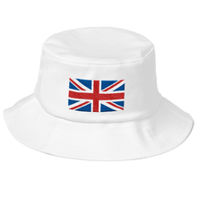 "White United Kingdom Flag ""Solo"" Old School Bucket Hat by Design Express"
