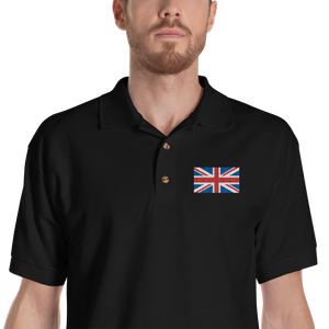 "Black / S United Kingdom Flag ""Solo"" Embroidered Polo Shirt by Design Express"
