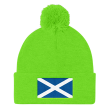 "Neon Green Scotland Flag ""Solo"" Pom Pom Knit Cap by Design Express"