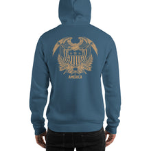 United States Of America Eagle Illustration Gold Reverse Backside Hooded Sweatshirt by Design Express