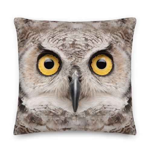 22×22 Great Horned Owl Square Premium Pillow by Design Express