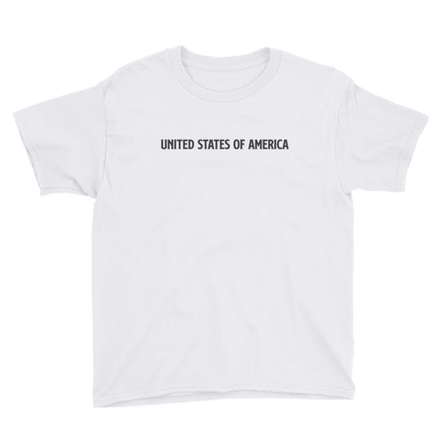 White / XS United States Of America Eagle Illustration Backside Youth Short Sleeve T-Shirt by Design Express