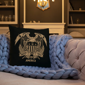 United States Of America Eagle Illustration Reverse Gold Premium Pillow