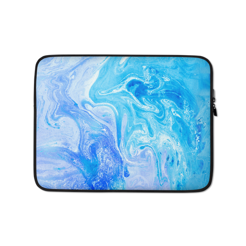 13 in Blue Watercolor Marble Laptop Sleeve by Design Express