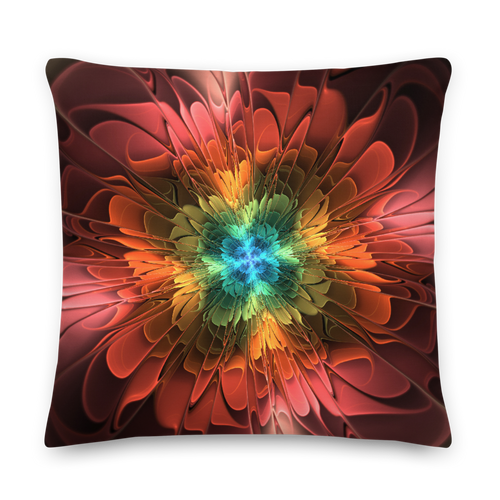 22×22 Abstract Flower 03 Square Premium Pillow by Design Express