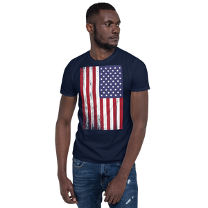 Navy / S US Flag Distressed Short-Sleeve Unisex T-Shirt by Design Express