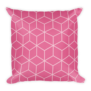 Diamonds Candy Pink Square Premium Pillow by Design Express