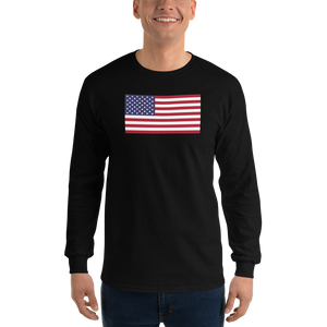 "Black / S United States Flag ""Solo"" Long Sleeve T-Shirt by Design Express"