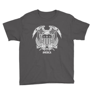 Charcoal / XS United States Of America Eagle Illustration Reverse Youth Short Sleeve T-Shirt by Design Express