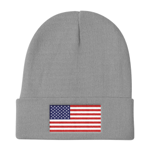 "Gray United States Flag ""Solo"" Knit Beanie by Design Express"