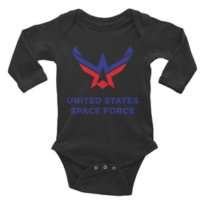 Black / 6M United States Space Force Infant Long Sleeve Bodysuit by Design Express