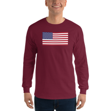"Maroon / S United States Flag ""Solo"" Long Sleeve T-Shirt by Design Express"