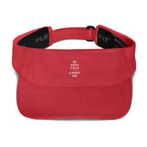 Red Keep Calm and Carry On (White) Visor by Design Express
