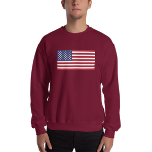 "Maroon / S United States Flag ""Solo"" Sweatshirt by Design Express"