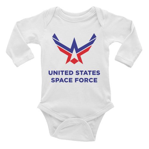 White / 6M United States Space Force Infant Long Sleeve Bodysuit by Design Express