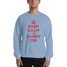 Light Blue / S Keep Calm and Carry On (Red) Unisex Sweatshirt by Design Express