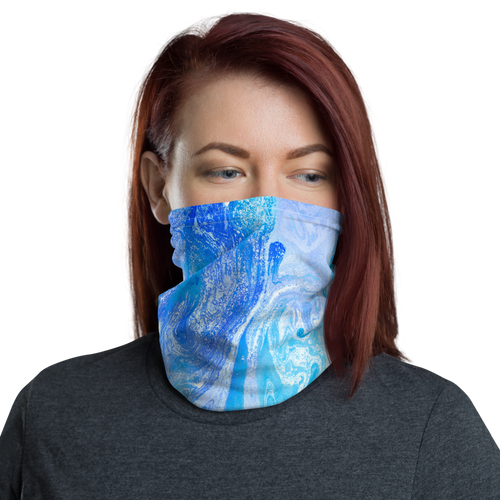 Default Title Blue Watercolor Marble Neck Gaiter Masks by Design Express