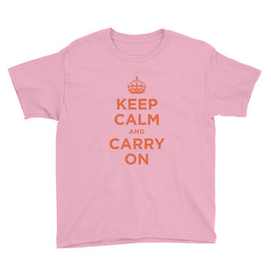 CharityPink / XS Keep Calm and Carry On (Orange) Youth Short Sleeve T-Shirt by Design Express