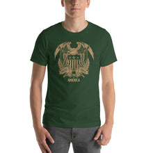 Forest / S United States Of America Eagle Illustration Gold Reverse Short-Sleeve Unisex T-Shirt by Design Express