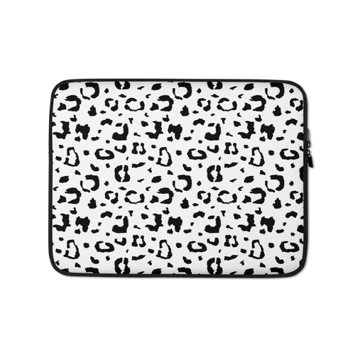 13 in Black & White Leopard Print Laptop Sleeve by Design Express