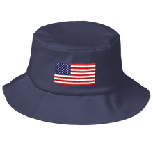 "Navy United States Flag ""Solo"" Old School Bucket Hat by Design Express"