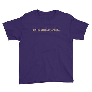 Purple / XS United States Of America Eagle Illustration Reverse Gold Backside Youth Short Sleeve T-Shirt by Design Express