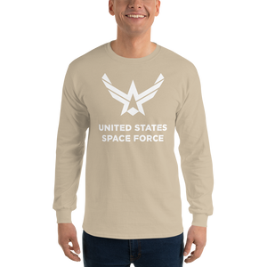 "Sand / S United States Space Force ""Reverse"" Long Sleeve T-Shirt by Design Express"