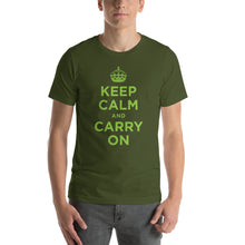 Olive / S Keep Calm and Carry On (Green) Short-Sleeve Unisex T-Shirt by Design Express