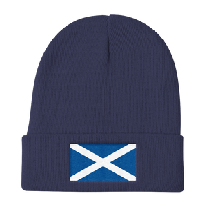 "Navy Scotland Flag ""Solo"" Knit Beanie by Design Express"