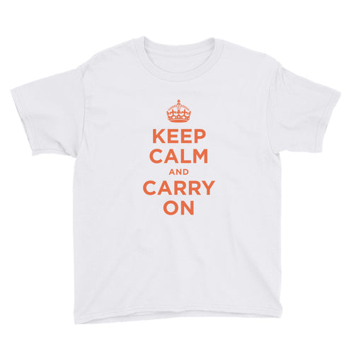 White / XS Keep Calm and Carry On (Orange) Youth Short Sleeve T-Shirt by Design Express