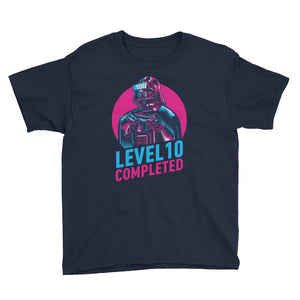 Navy / XS Darth Vader Level 10 Completed Youth Short Sleeve T-Shirt by Design Express