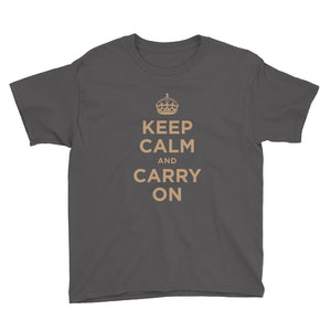 Charcoal / XS Keep Calm and Carry On (Gold) Youth Short Sleeve T-Shirt by Design Express