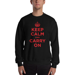 Black / S Keep Calm and Carry On (Red) Unisex Sweatshirt by Design Express