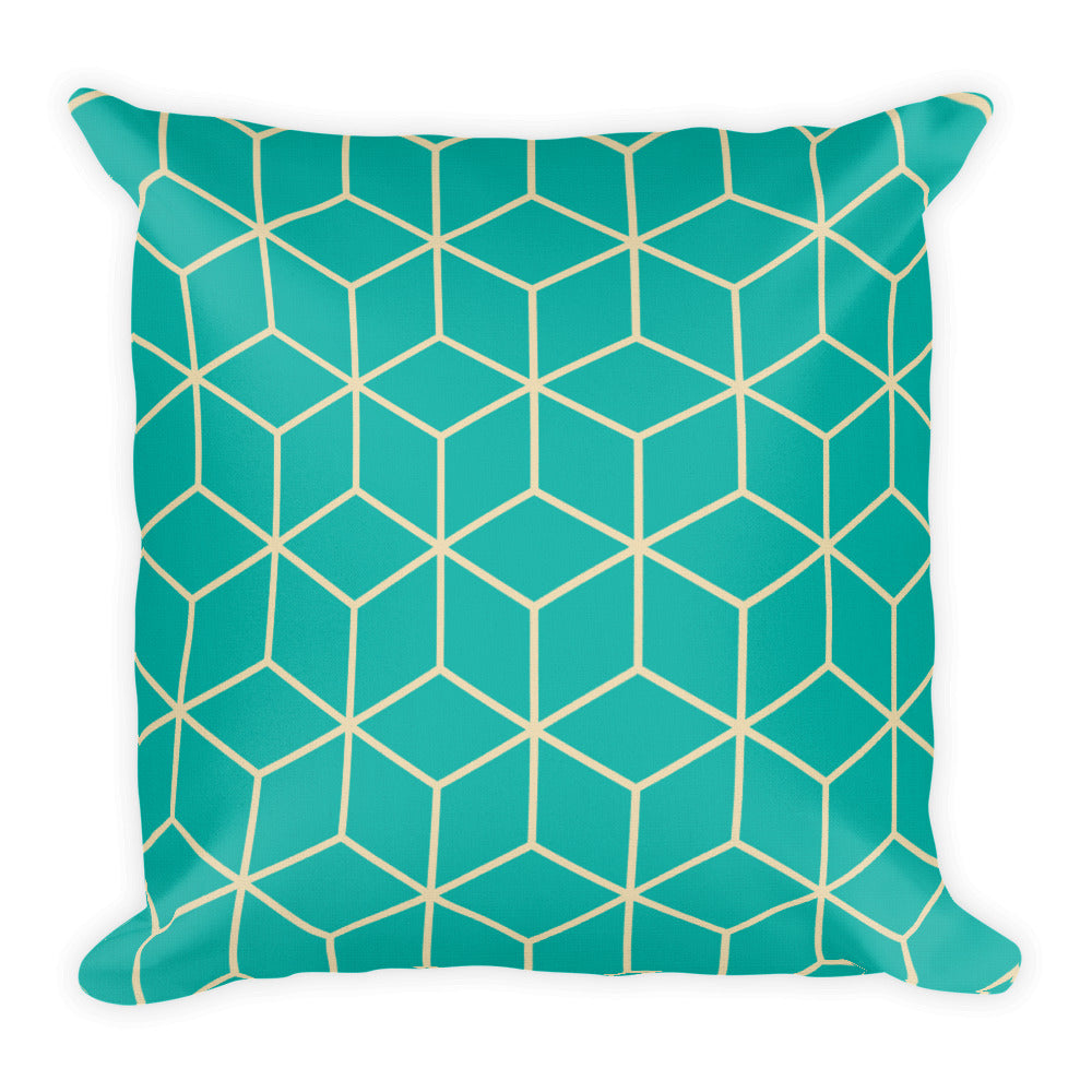 Default Title Diamonds Turquoise Square Premium Pillow by Design Express