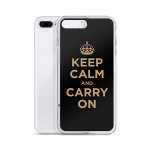 Keep Calm and Carry On (Black Gold) iPhone Case iPhone Cases by Design Express