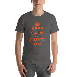 Asphalt / S Keep Calm and Carry On (Orange) Short-Sleeve Unisex T-Shirt by Design Express