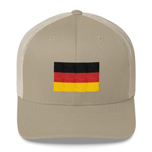 Khaki Germany Flag Embroidered Trucker Cap by Design Express