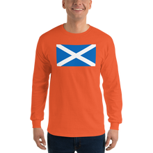 "Orange / S Scotland Flag ""Solo"" Long Sleeve T-Shirt by Design Express"