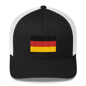 Black/ White Germany Flag Embroidered Trucker Cap by Design Express