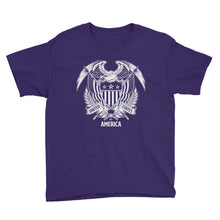 Purple / XS United States Of America Eagle Illustration Reverse Youth Short Sleeve T-Shirt by Design Express