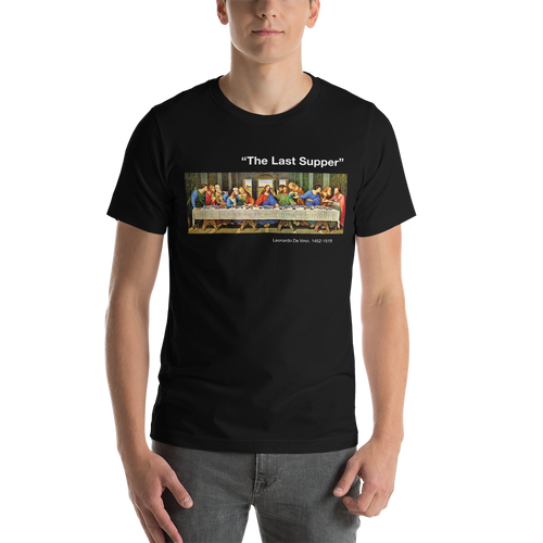 XS The Last Supper Unisex Black T-Shirt by Design Express