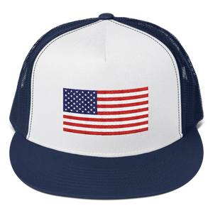"Navy/ White/ Navy United States Flag ""Solo"" Trucker Cap by Design Express"