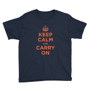 Navy / XS Keep Calm and Carry On (Orange) Youth Short Sleeve T-Shirt by Design Express