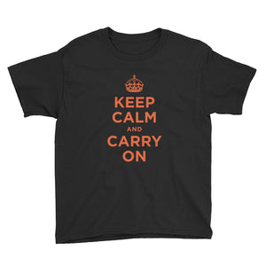 Black / XS Keep Calm and Carry On (Orange) Youth Short Sleeve T-Shirt by Design Express