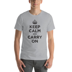 Silver / S Keep Calm and Carry On (Black) Short-Sleeve Unisex T-Shirt by Design Express