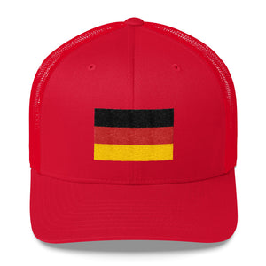 Red Germany Flag Embroidered Trucker Cap by Design Express