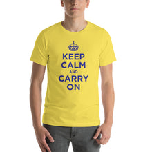 Yellow / S Keep Calm and Carry On (Navy Blue) Short-Sleeve Unisex T-Shirt by Design Express