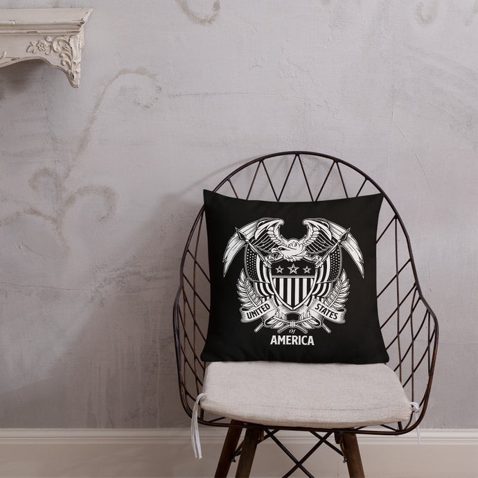 United States Of America Eagle Illustration Reverse Premium Pillow