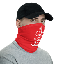 Red Keep Calm and Wash Your Hands Neck Gaiter Masks by Design Express