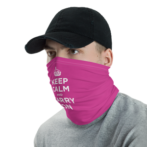 Magenta Keep Calm & Carry On Neck Gaiter Masks by Design Express